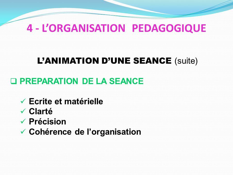 LANIMATION DUNE SEANCE (suite) PREPARATION DE LA SEANCE Ecrite et matérielle Clarté Précision Cohérence de lorganisation 4 - LORGANISATION PEDAGOGIQUE