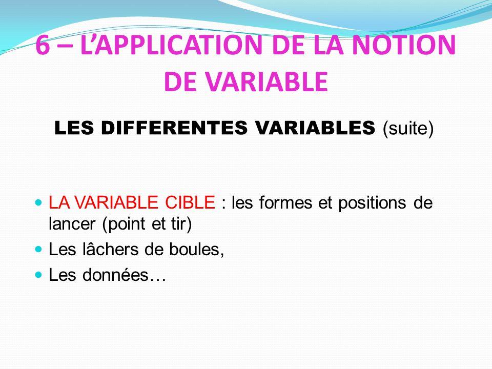6 – LAPPLICATION DE LA NOTION DE VARIABLE LA VARIABLE CIBLE : les formes et positions de lancer (point et tir) Les lâchers de boules, Les données… LES DIFFERENTES VARIABLES (suite)
