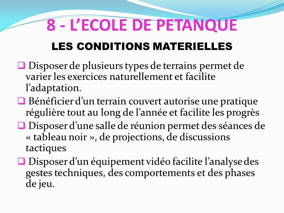 LES CONDITIONS MATERIELLES Disposer de plusieurs types de terrains permet de varier les exercices naturellement et facilite ladaptation.