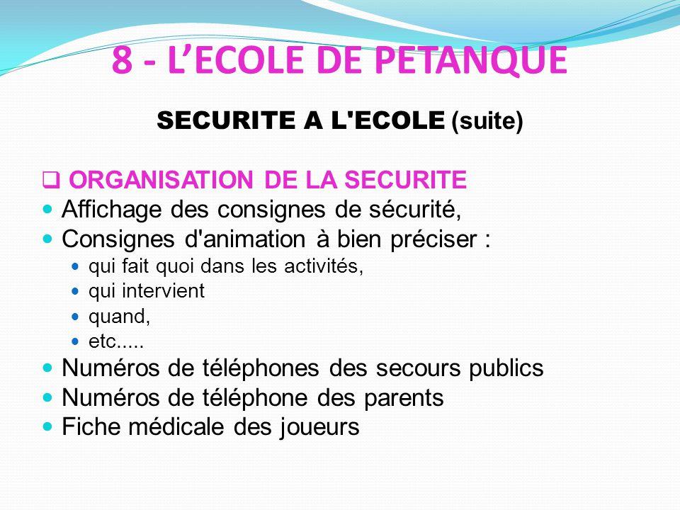 SECURITE A L ECOLE (suite) ORGANISATION DE LA SECURITE Affichage des consignes de sécurité, Consignes d animation à bien préciser : qui fait quoi dans les activités, qui intervient quand, etc.....