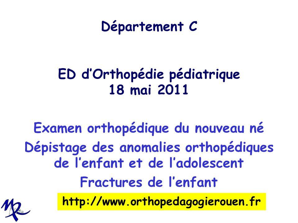 Département C ED dOrthopédie pédiatrique 18 mai 2011 Examen orthopédique du nouveau né Dépistage des anomalies orthopédiques de lenfant et de ladolesc