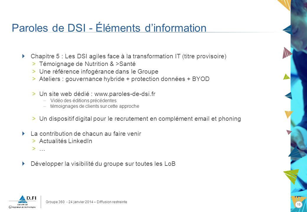 Groupe 360 - 24 janvier 2014 – Diffusion restreinte 19 Paroles de DSI - Éléments dinformation Chapitre 5 : Les DSI agiles face à la transformation IT