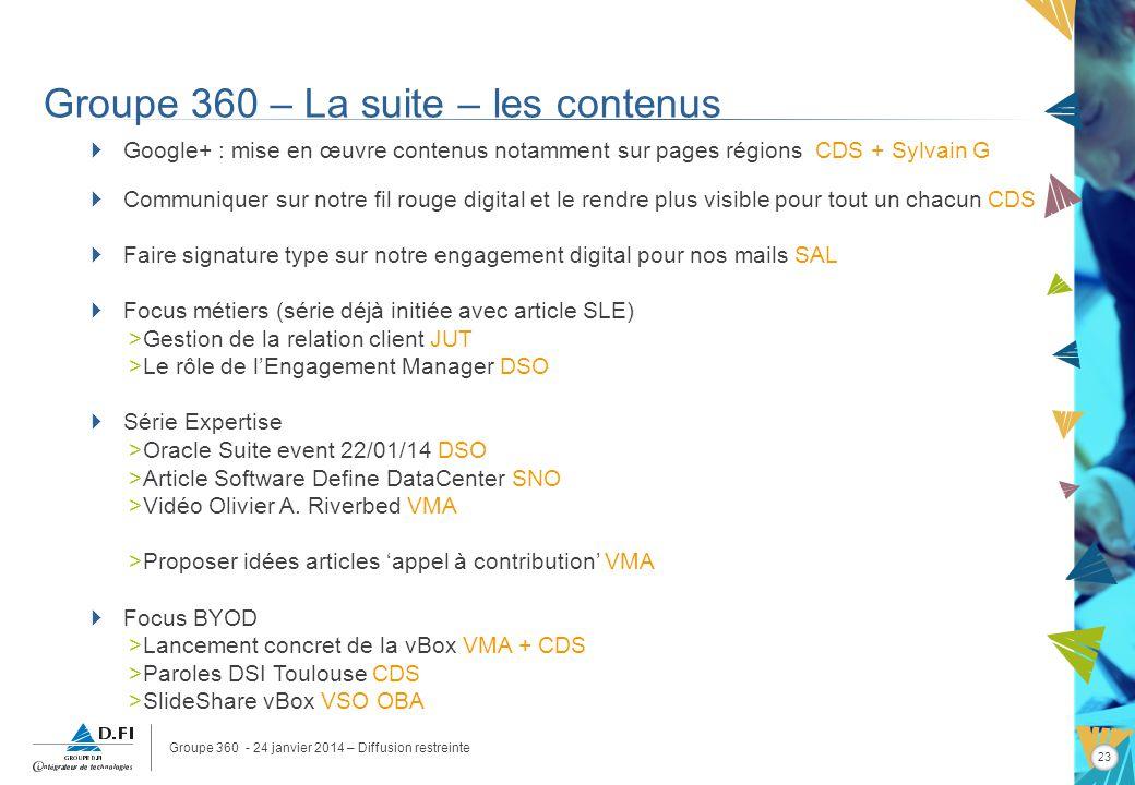 Groupe 360 - 24 janvier 2014 – Diffusion restreinte 23 Groupe 360 – La suite – les contenus Google+ : mise en œuvre contenus notamment sur pages régio
