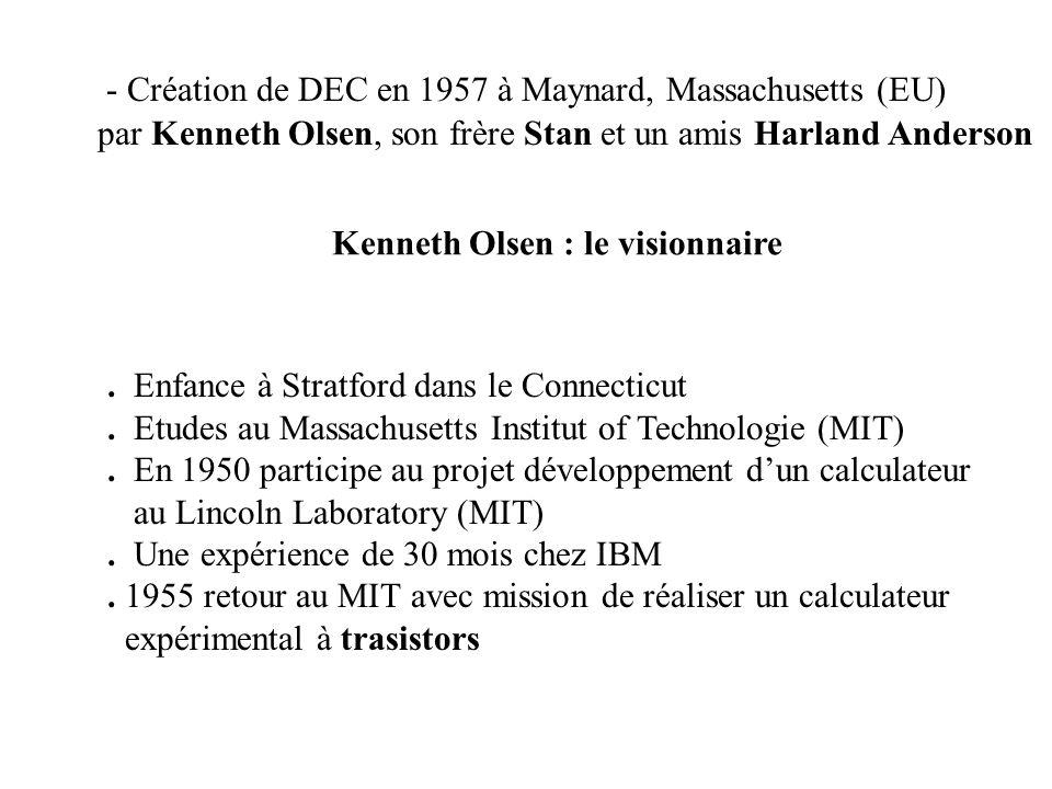 - Création de DEC en 1957 à Maynard, Massachusetts (EU) par Kenneth Olsen, son frère Stan et un amis Harland Anderson. Enfance à Stratford dans le Con