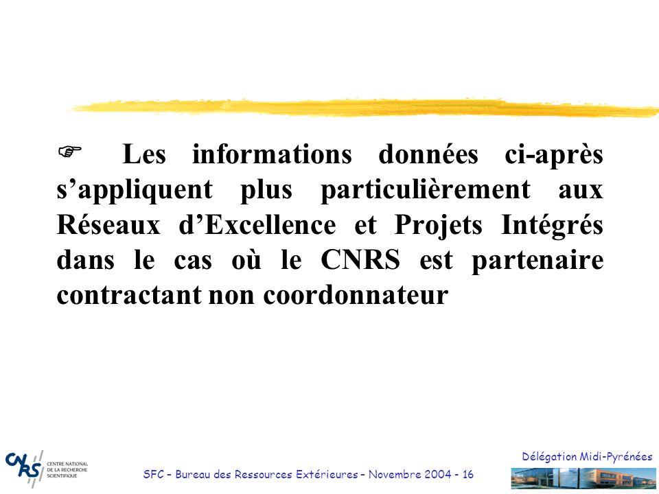 Délégation Midi-Pyrénées SFC – Bureau des Ressources Extérieures – Novembre 2004 - 16 Les informations données ci-après sappliquent plus particulièrem