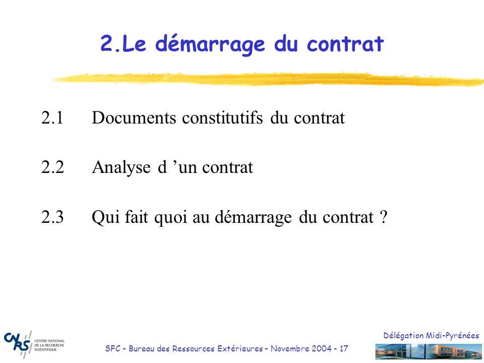 Délégation Midi-Pyrénées SFC – Bureau des Ressources Extérieures – Novembre 2004 - 17 2.Le démarrage du contrat 2.1Documents constitutifs du contrat 2