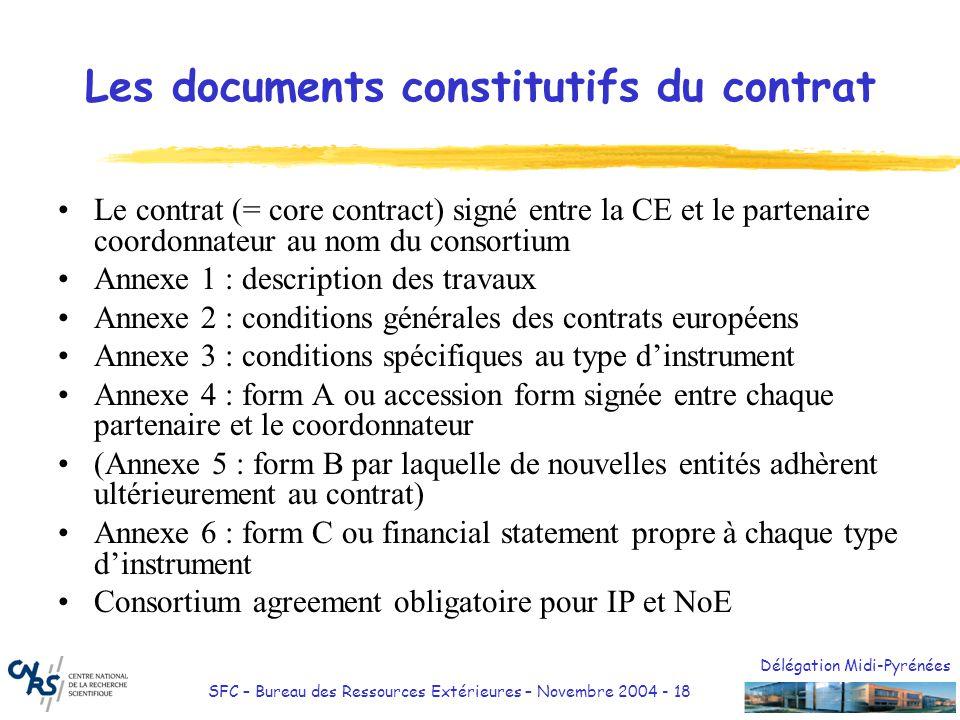 Délégation Midi-Pyrénées SFC – Bureau des Ressources Extérieures – Novembre 2004 - 19 Le contrat En anglais (langue officielle) Conclu entre la CE et le partenaire coordonnateur Le contrat fixe notamment : –Lobjet du contrat et la liste de tous les participants au contrat (art 1) –la date dentrée en vigueur du contrat, la date de début et la durée du projet (art 4) –le montant maximum de la contribution financière de la communauté (art 5) –les périodes de rapport et les rapports à remettre (art 6 et 7) –les modalités de paiement par la CE (art 8) – AvanceAvance Addendum clause 23