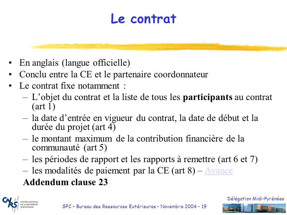 Délégation Midi-Pyrénées SFC – Bureau des Ressources Extérieures – Novembre 2004 - 19 Le contrat En anglais (langue officielle) Conclu entre la CE et