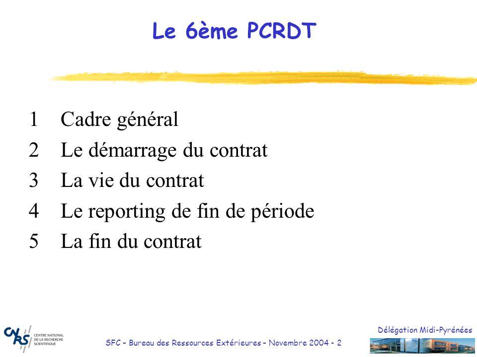 Délégation Midi-Pyrénées SFC – Bureau des Ressources Extérieures – Novembre 2004 - 2 Le 6ème PCRDT 1Cadre général 2Le démarrage du contrat 3La vie du