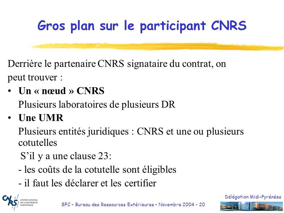 Délégation Midi-Pyrénées SFC – Bureau des Ressources Extérieures – Novembre 2004 - 20 Gros plan sur le participant CNRS Derrière le partenaire CNRS si