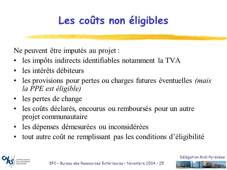Délégation Midi-Pyrénées SFC – Bureau des Ressources Extérieures – Novembre 2004 - 25 Les coûts non éligibles Ne peuvent être imputés au projet : les