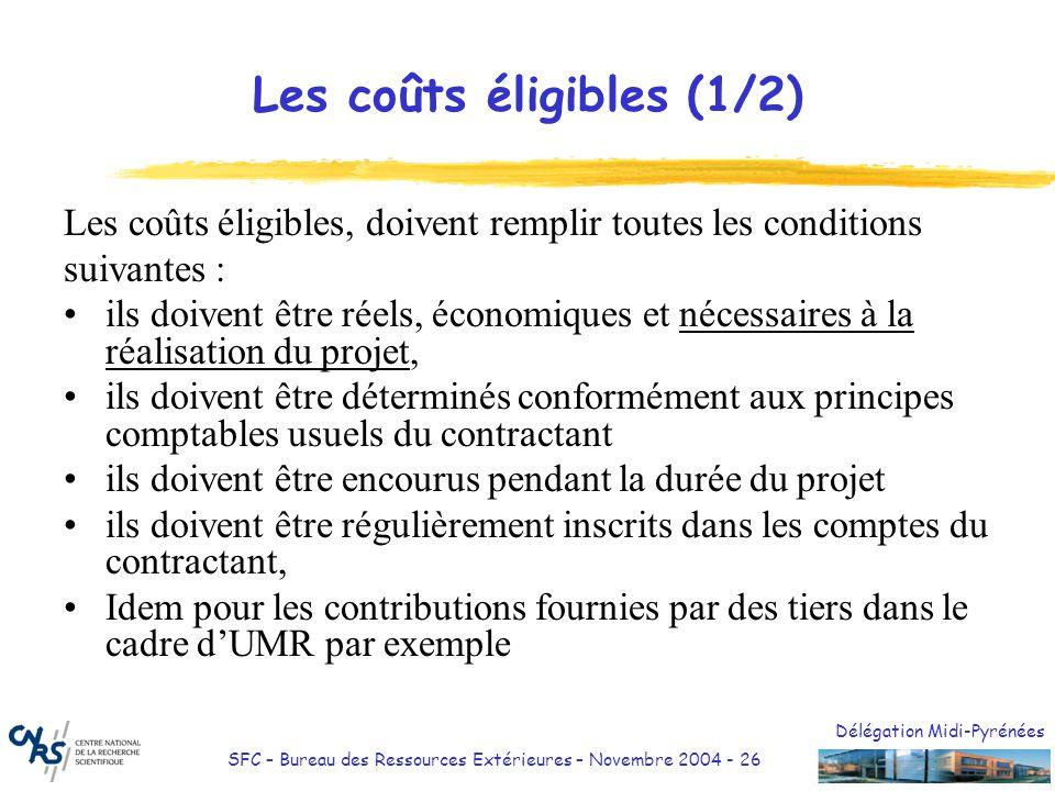 Délégation Midi-Pyrénées SFC – Bureau des Ressources Extérieures – Novembre 2004 - 26 Les coûts éligibles (1/2) Les coûts éligibles, doivent remplir t