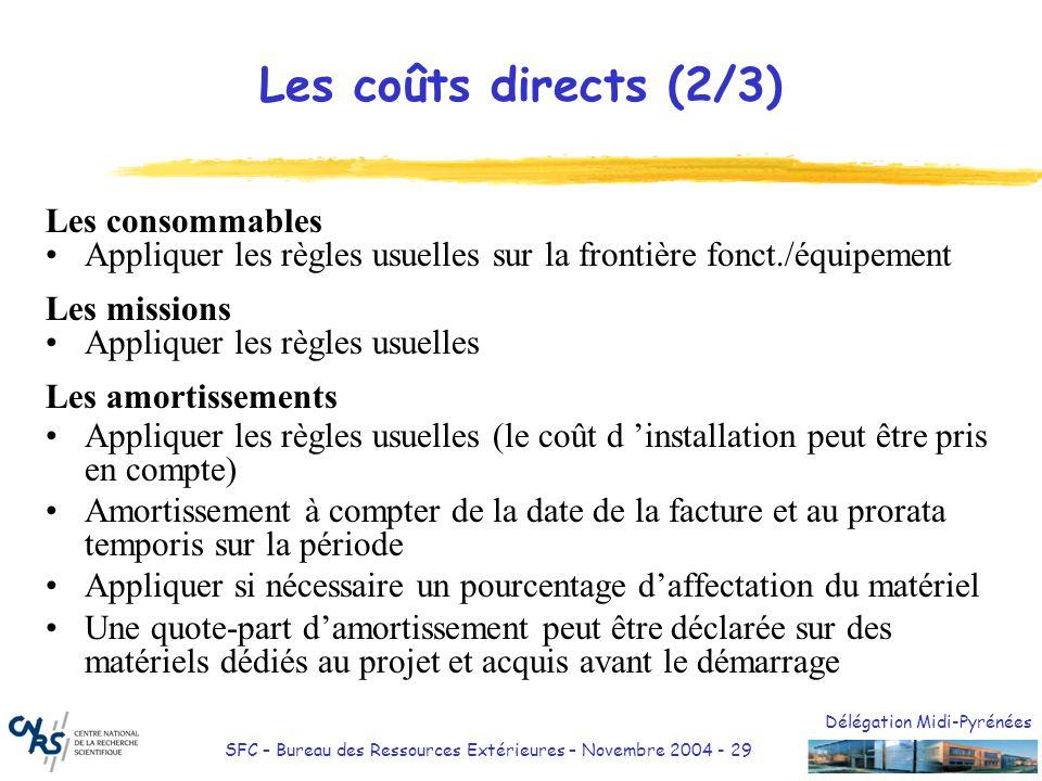 Délégation Midi-Pyrénées SFC – Bureau des Ressources Extérieures – Novembre 2004 - 30 Exemple de calcul damortissement Contrat valable du 01/01/04 au 31/12/07 Matériel de 3000 amortissable sur 5 ans Facture datée du 10/03/04 Matériel affecté à 40% au projet Amortissement éligible en année 1: 3000 x 20% x 10/12è x 40% = 200 Amortissement éligible en année 2: 3000 x 20% x 40% = 240