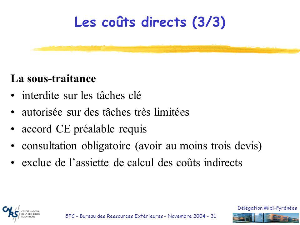 Délégation Midi-Pyrénées SFC – Bureau des Ressources Extérieures – Novembre 2004 - 31 Les coûts directs (3/3) La sous-traitance interdite sur les tâch