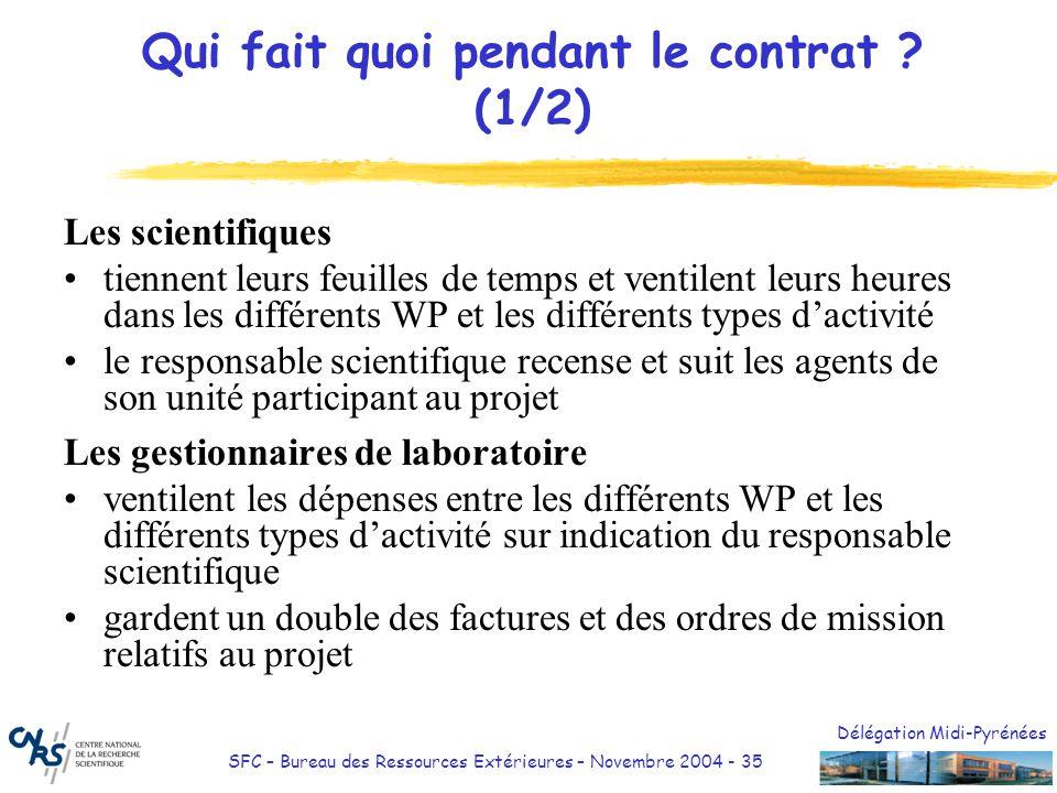 Délégation Midi-Pyrénées SFC – Bureau des Ressources Extérieures – Novembre 2004 - 35 Qui fait quoi pendant le contrat ? (1/2) Les scientifiques tienn