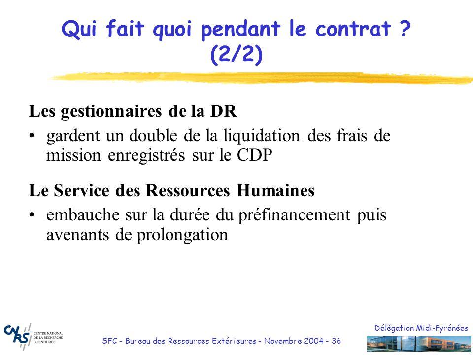Délégation Midi-Pyrénées SFC – Bureau des Ressources Extérieures – Novembre 2004 - 36 Qui fait quoi pendant le contrat ? (2/2) Les gestionnaires de la