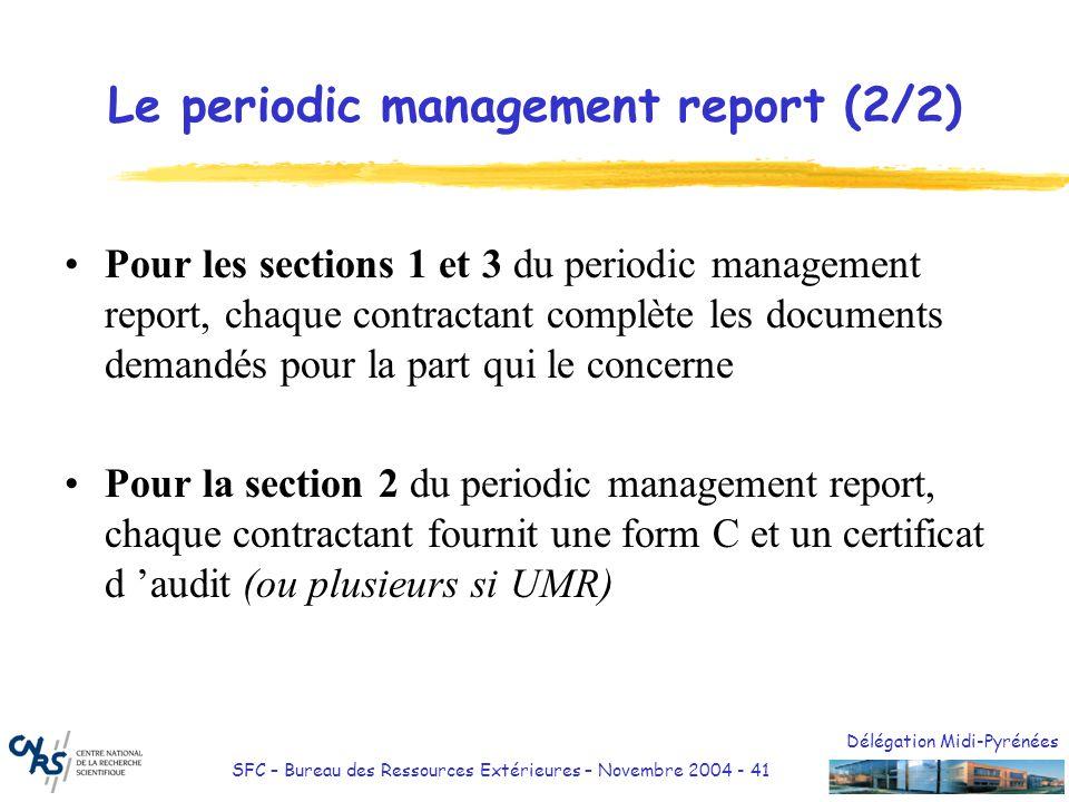 Délégation Midi-Pyrénées SFC – Bureau des Ressources Extérieures – Novembre 2004 - 41 Le periodic management report (2/2) Pour les sections 1 et 3 du