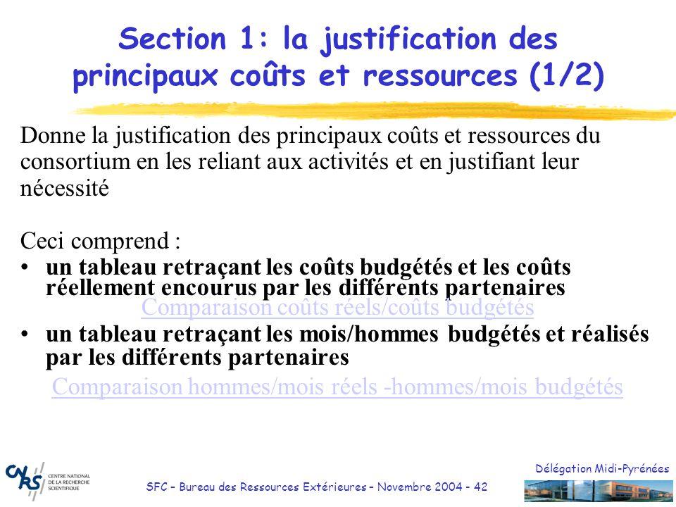 Délégation Midi-Pyrénées SFC – Bureau des Ressources Extérieures – Novembre 2004 - 42 Section 1: la justification des principaux coûts et ressources (