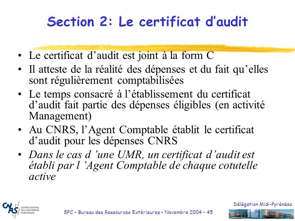 Délégation Midi-Pyrénées SFC – Bureau des Ressources Extérieures – Novembre 2004 - 45 Section 2: Le certificat daudit Le certificat daudit est joint à