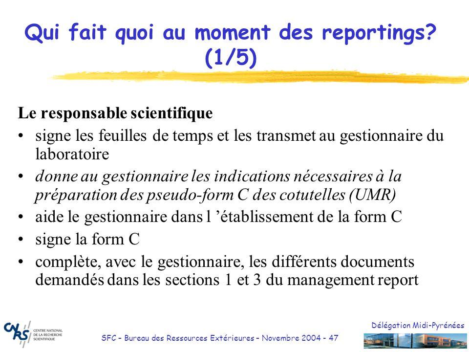 Délégation Midi-Pyrénées SFC – Bureau des Ressources Extérieures – Novembre 2004 - 47 Qui fait quoi au moment des reportings? (1/5) Le responsable sci