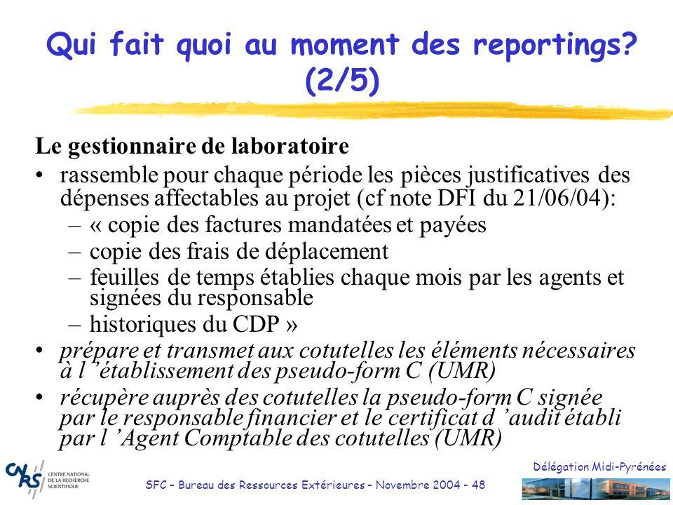 Délégation Midi-Pyrénées SFC – Bureau des Ressources Extérieures – Novembre 2004 - 48 Qui fait quoi au moment des reportings? (2/5) Le gestionnaire de