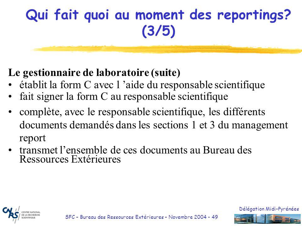 Délégation Midi-Pyrénées SFC – Bureau des Ressources Extérieures – Novembre 2004 - 49 Qui fait quoi au moment des reportings? (3/5) Le gestionnaire de