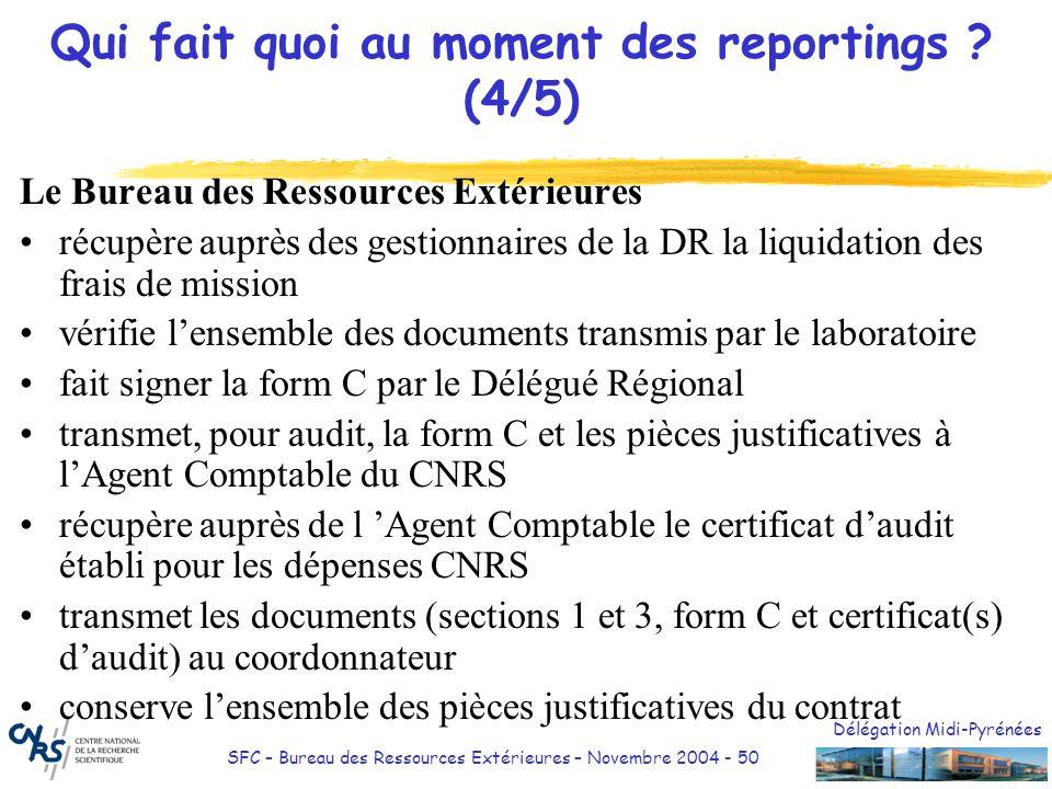 Délégation Midi-Pyrénées SFC – Bureau des Ressources Extérieures – Novembre 2004 - 51 Qui fait quoi au moment des reportings.