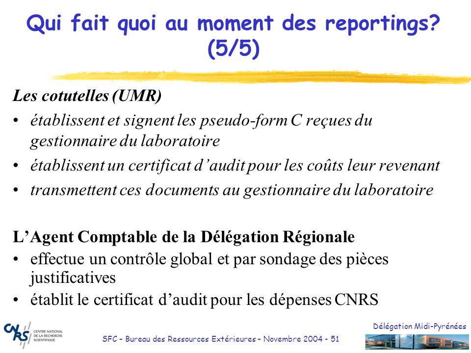 Délégation Midi-Pyrénées SFC – Bureau des Ressources Extérieures – Novembre 2004 - 51 Qui fait quoi au moment des reportings? (5/5) Les cotutelles (UM