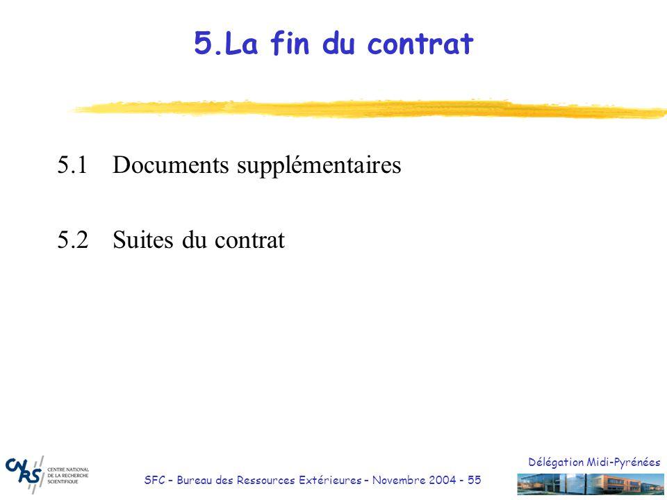 Délégation Midi-Pyrénées SFC – Bureau des Ressources Extérieures – Novembre 2004 - 55 5.La fin du contrat 5.1Documents supplémentaires 5.2Suites du co