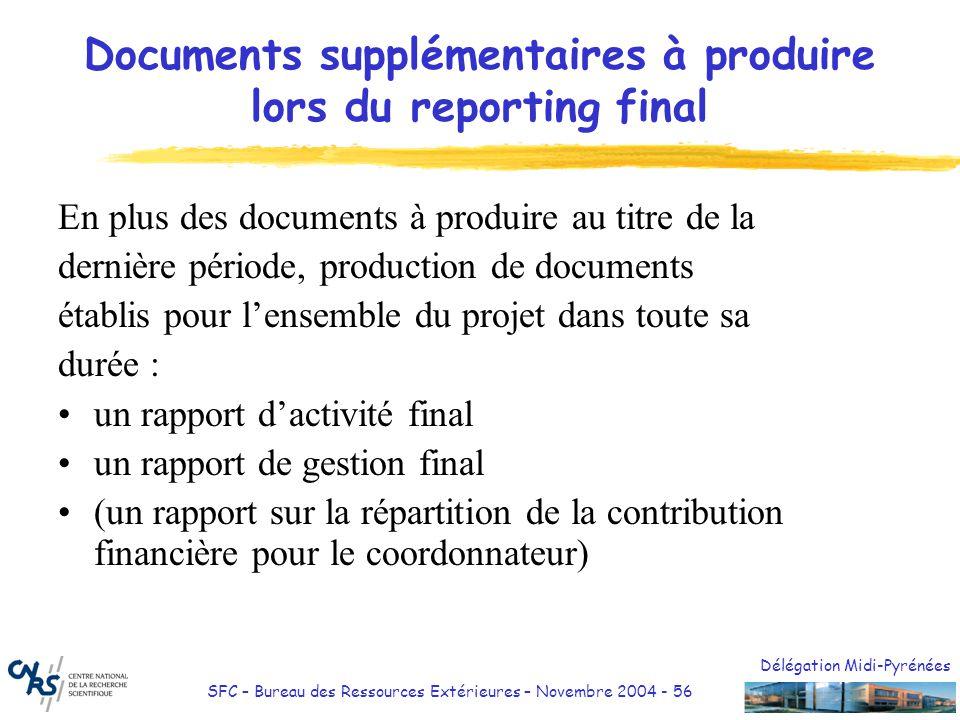 Délégation Midi-Pyrénées SFC – Bureau des Ressources Extérieures – Novembre 2004 - 56 Documents supplémentaires à produire lors du reporting final En