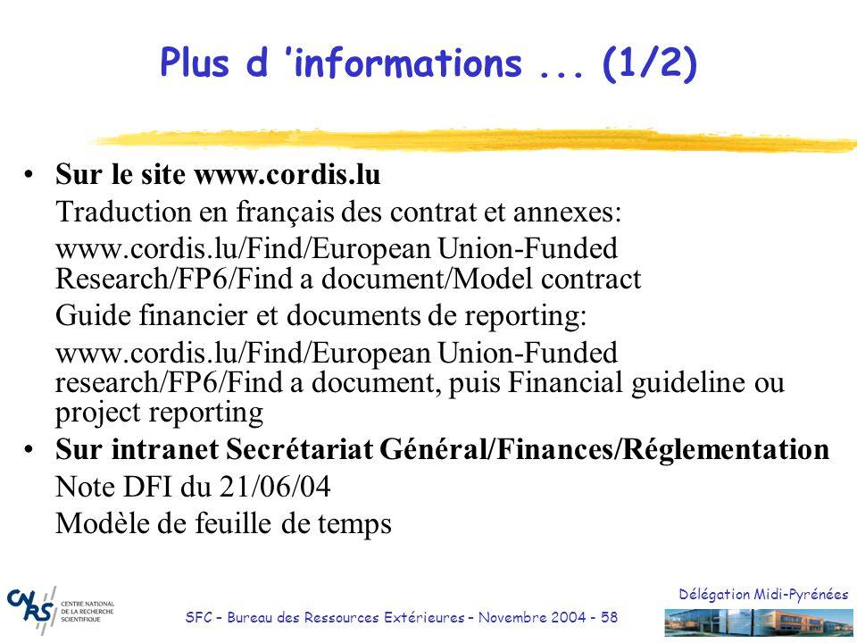 Délégation Midi-Pyrénées SFC – Bureau des Ressources Extérieures – Novembre 2004 - 58 Plus d informations... (1/2) Sur le site www.cordis.lu Traductio