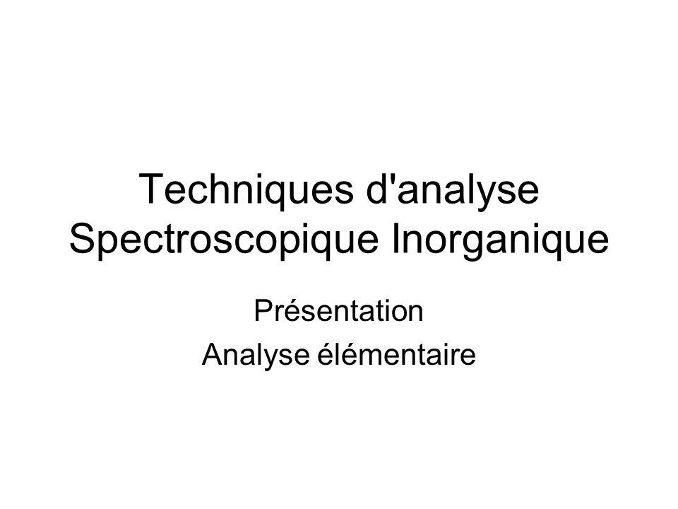 Cadences analytique FX: Simultanné, 5min à 1h par échantillon ICP-OES: 1 à 5 min ICP-MS: 1 à 30 min (séquentiel) GFAAS: .