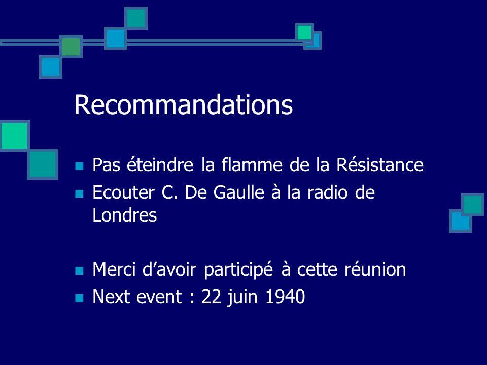 Recommandations Pas éteindre la flamme de la Résistance Ecouter C.