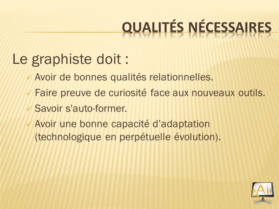 Le graphiste doit : Avoir de bonnes qualités relationnelles. Faire preuve de curiosité face aux nouveaux outils. Savoir s'auto-former. Avoir une bonne