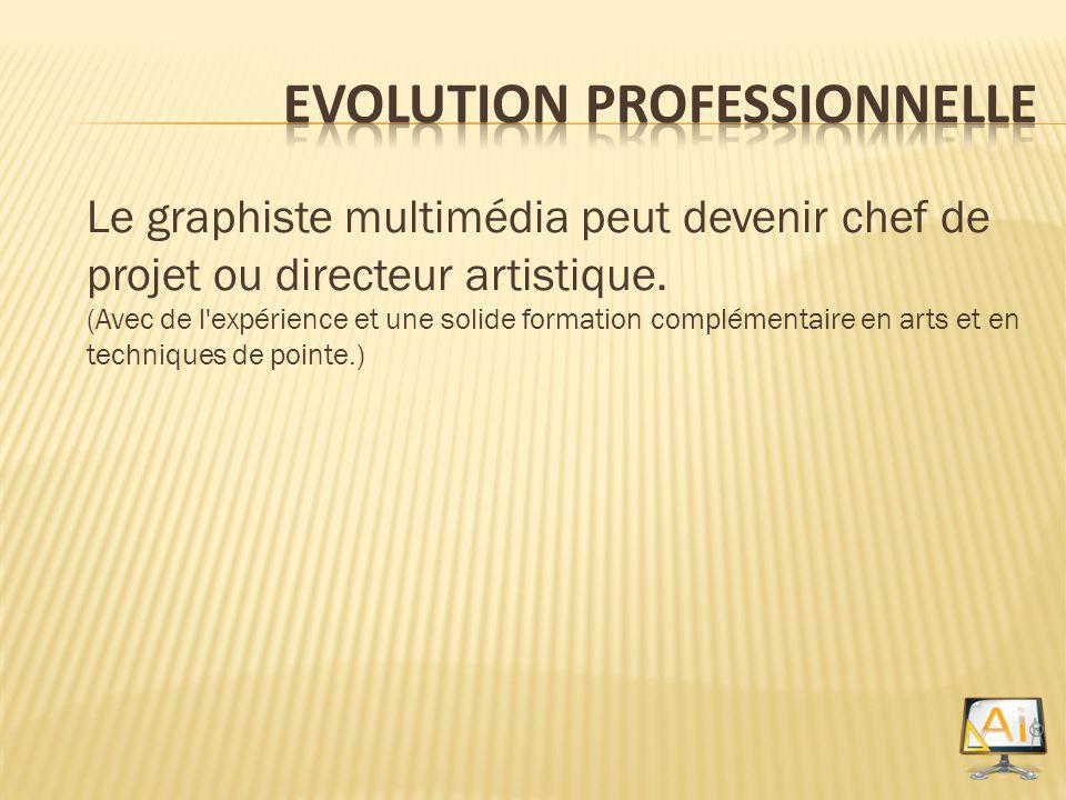 Le graphiste multimédia peut devenir chef de projet ou directeur artistique. (Avec de l'expérience et une solide formation complémentaire en arts et e