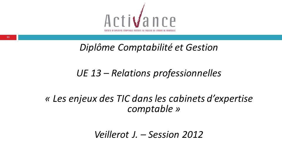 Diplôme Comptabilité et Gestion UE 13 – Relations professionnelles « Les enjeux des TIC dans les cabinets dexpertise comptable » Veillerot J.