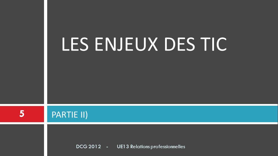 LES ENJEUX DES TIC PARTIE II) 5 DCG 2012 - UE13 Relations professionnelles