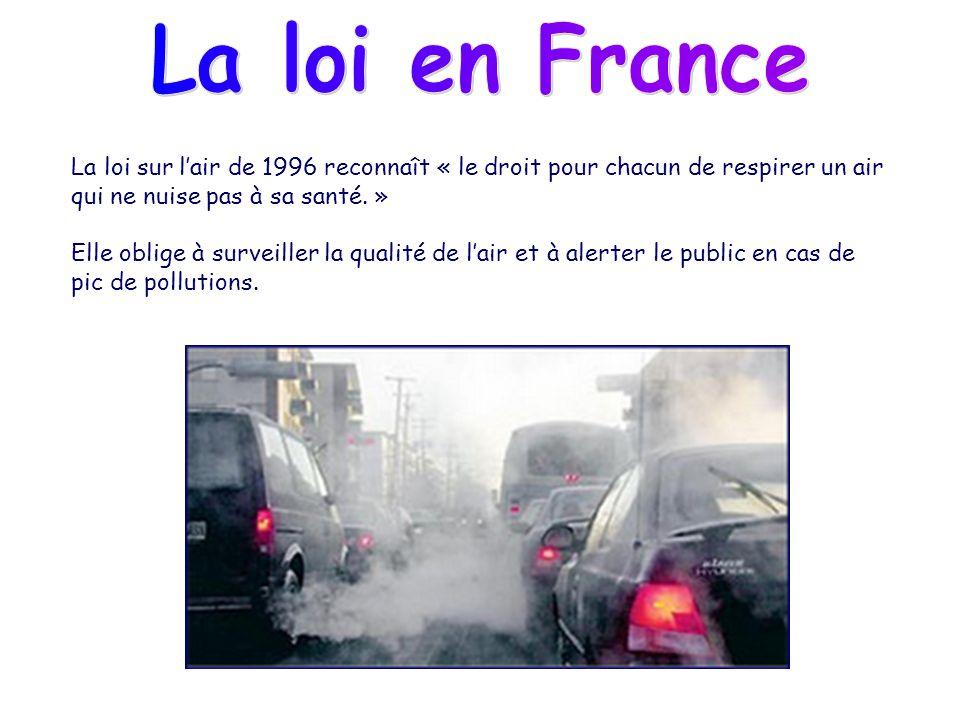 La loi sur lair de 1996 reconnaît « le droit pour chacun de respirer un air qui ne nuise pas à sa santé. » Elle oblige à surveiller la qualité de lair