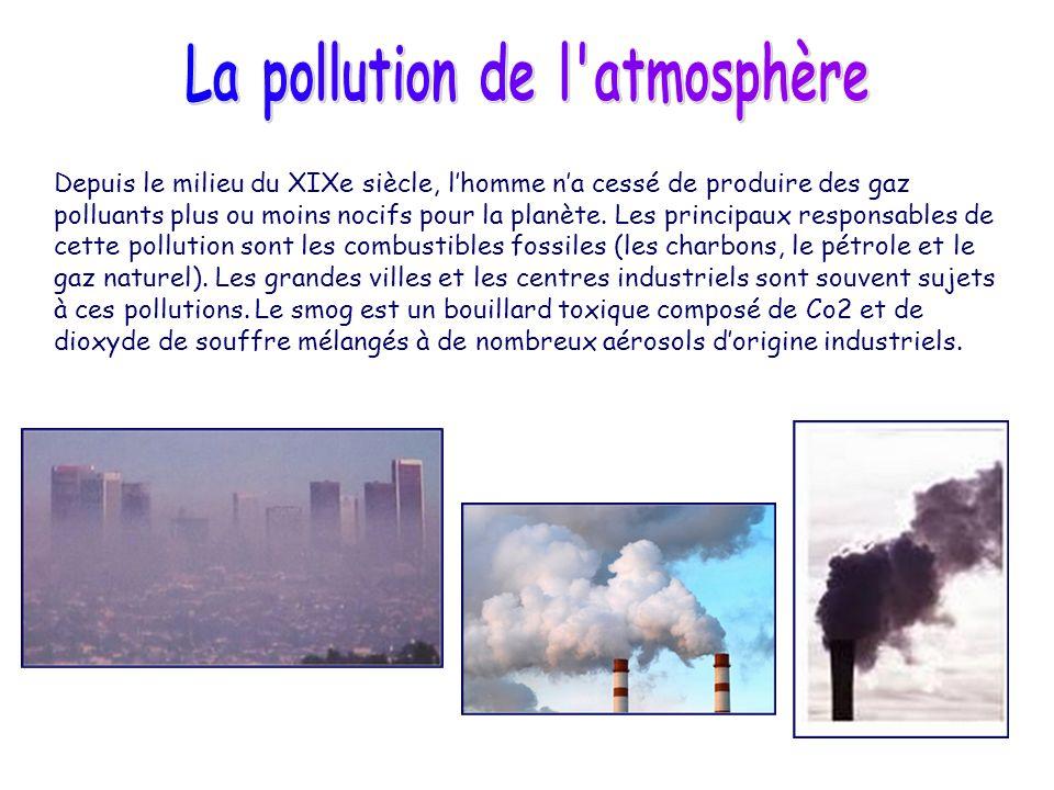 Depuis le milieu du XIXe siècle, lhomme na cessé de produire des gaz polluants plus ou moins nocifs pour la planète. Les principaux responsables de ce