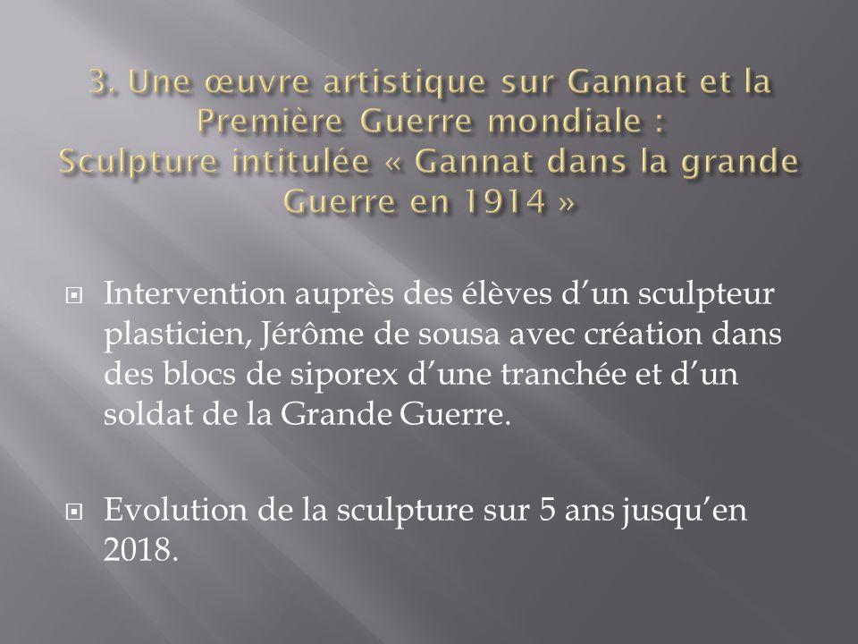 Intervention auprès des élèves dun sculpteur plasticien, Jérôme de sousa avec création dans des blocs de siporex dune tranchée et dun soldat de la Gra