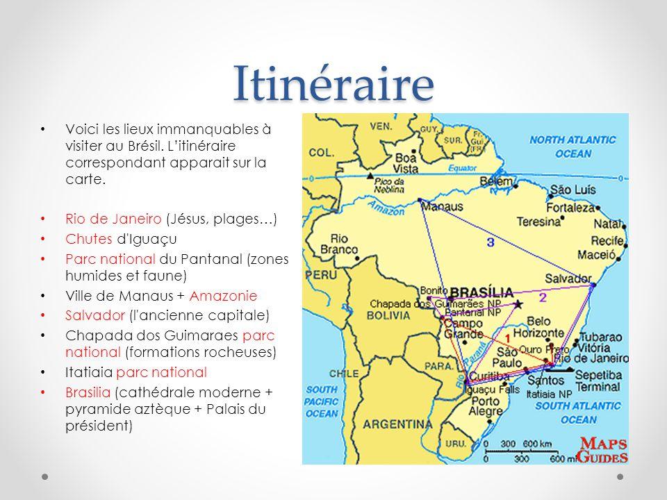 Itinéraire Voici les lieux immanquables à visiter au Brésil.