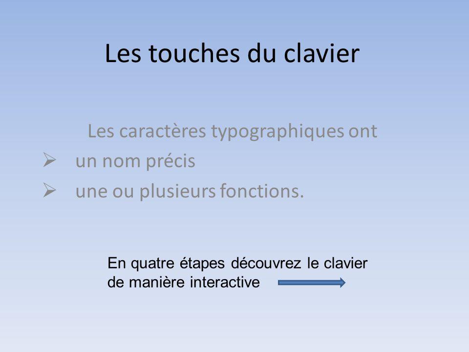 Les touches du clavier Les caractères typographiques ont un nom précis une ou plusieurs fonctions.