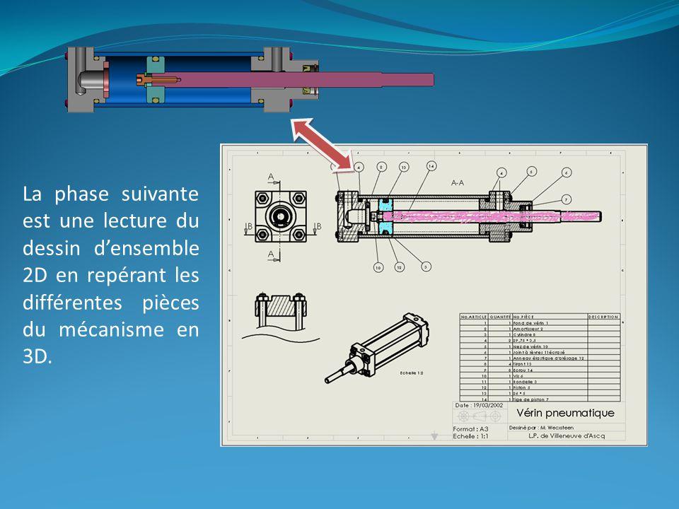 La phase suivante est une lecture du dessin densemble 2D en repérant les différentes pièces du mécanisme en 3D.