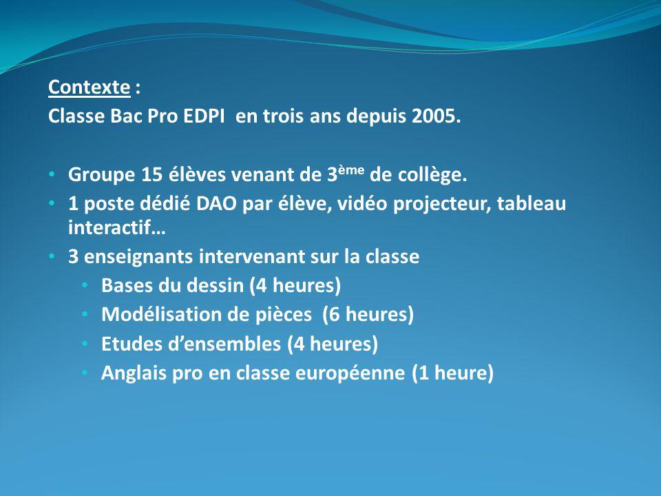 Contexte : Classe Bac Pro EDPI en trois ans depuis 2005. Groupe 15 élèves venant de 3 ème de collège. 1 poste dédié DAO par élève, vidéo projecteur, t