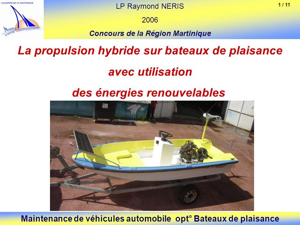 La propulsion hybride sur bateaux de plaisance avec utilisation des énergies renouvelables LP Raymond NERIS 2006 Concours de la Région Martinique Main