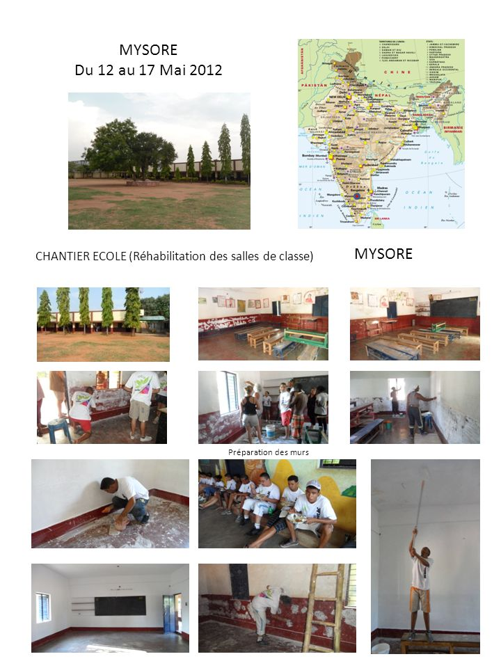 MYSORE Du 12 au 17 Mai 2012 MYSORE CHANTIER ECOLE (Réhabilitation des salles de classe) Préparation des murs