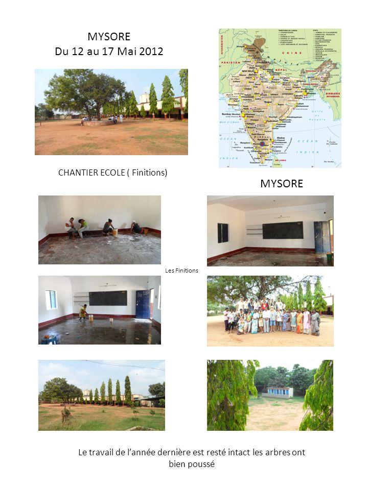 MYSORE Du 12 au 17 Mai 2012 MYSORE CHANTIER ECOLE ( Finitions) Le travail de lannée dernière est resté intact les arbres ont bien poussé Les Finitions