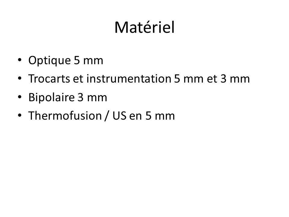 Matériel Optique 5 mm Trocarts et instrumentation 5 mm et 3 mm Bipolaire 3 mm Thermofusion / US en 5 mm