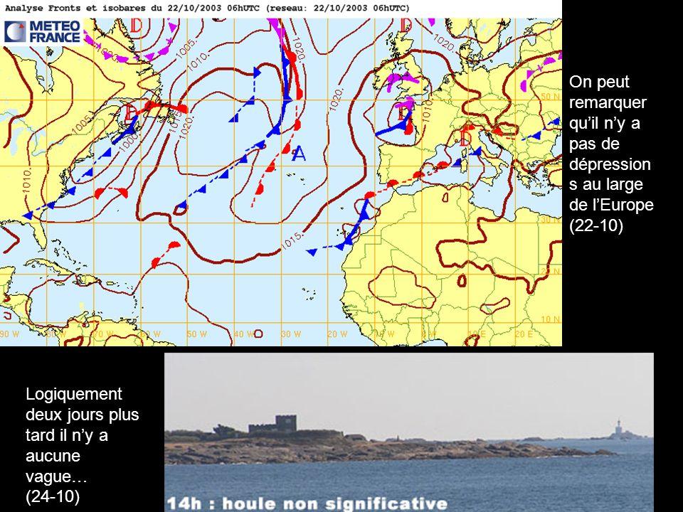 Logiquement deux jours plus tard il ny a aucune vague… (24-10) On peut remarquer quil ny a pas de dépression s au large de lEurope (22-10)
