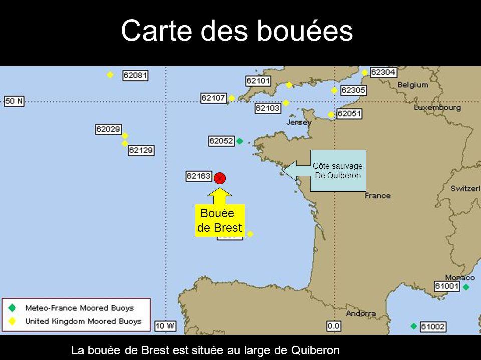 Carte des bouées Bouée de Brest Côte sauvage De Quiberon La bouée de Brest est située au large de Quiberon
